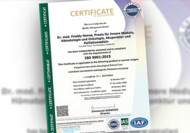 Wir sind zertifiziert nach DIN ISO 9001:2015